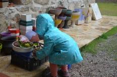 Plantando en las macetas